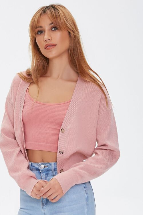 DUSTY PINK Button-Front Cardigan Sweater, image 1