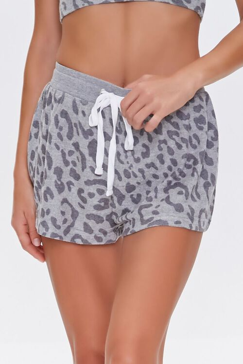 GREY/CHARCOAL Leopard Print Lounge Shorts, image 2