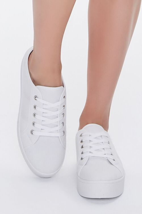 WHITE Low-Top Lace-Up Sneakers, image 4