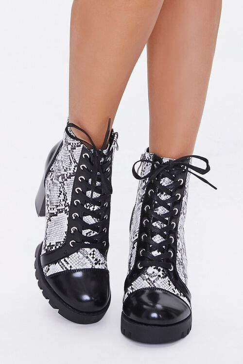 Faux Snakeskin Block Heel Boots, image 4