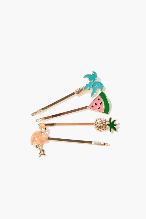 PINK/MULTI Tropical Bobby Pin Set, image 1