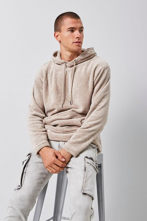 Fuzzy Marled Hooded Sweater, image 1