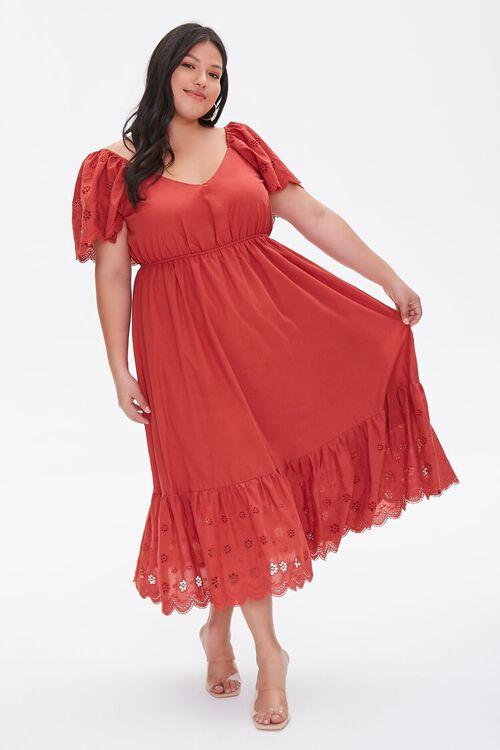 Plus Size Floral Eyelet Dress, image 1