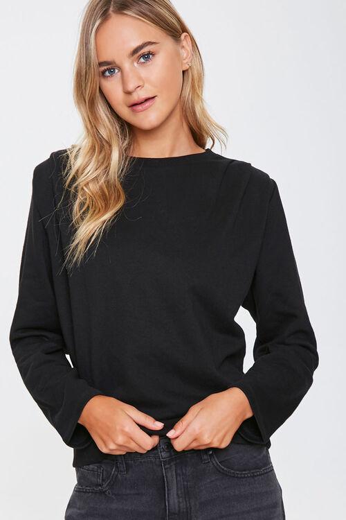 BLACK Pintucked Long-Sleeve Top, image 1