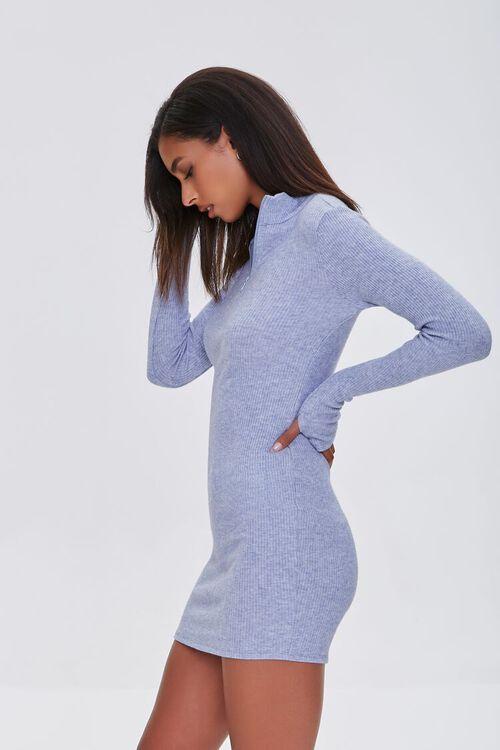 DUSTY BLUE Heathered Ribbed Knit Mini Dress, image 2