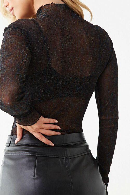 BLACK/MULTI Sheer Mesh Mock Neck Bodysuit, image 3