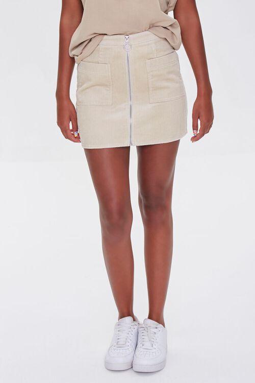 Corduroy Zip-Front Mini Skirt, image 2