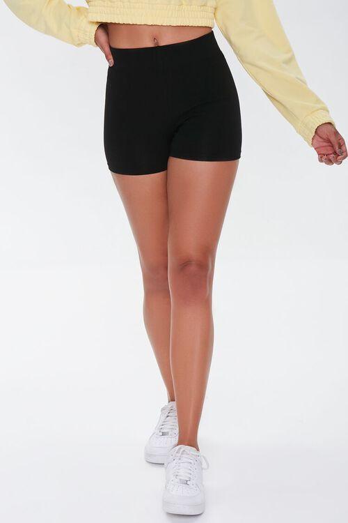BLACK Basic Organically Grown Cotton Biker Shorts, image 2