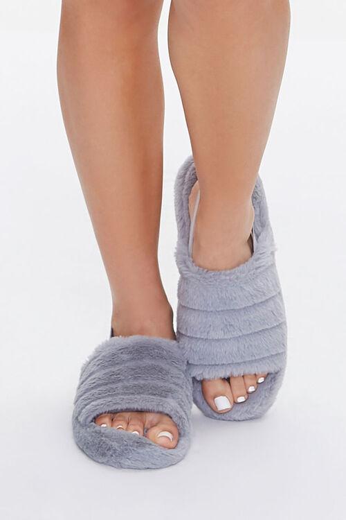 Faux Fur Open-Toe Indoor Slippers, image 4