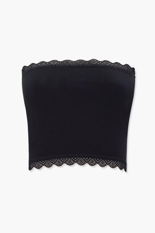 Ribbed Crochet-Trim Tube Top, image 1