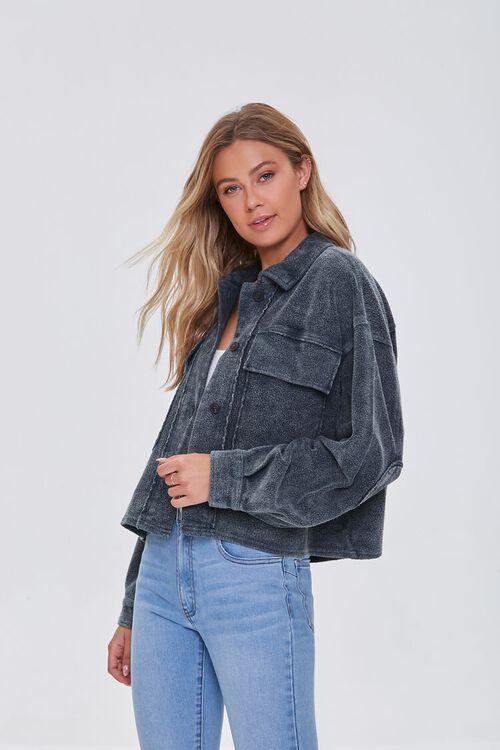 CHARCOAL Reverse Fleece Drop-Sleeve Jacket, image 1