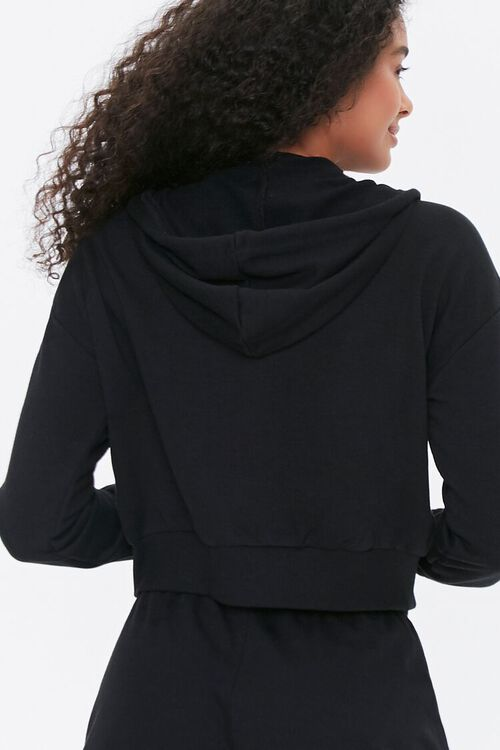 BLACK French Terry Zip-Up Hoodie, image 3