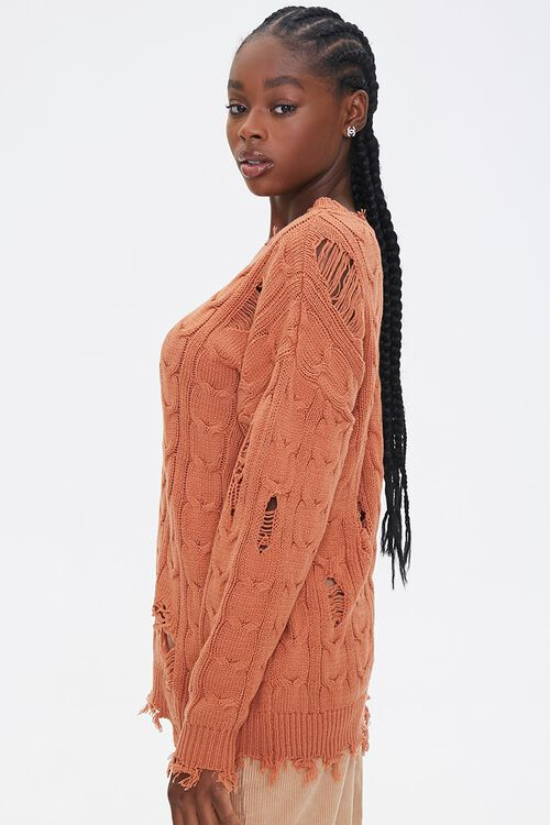 Distressed Cable Knit Sweater, image 2