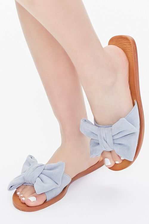 Faux Suede Bow Sandals, image 1