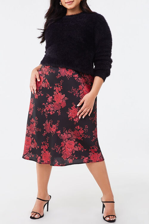 Plus Size Floral Satin Skirt, image 1