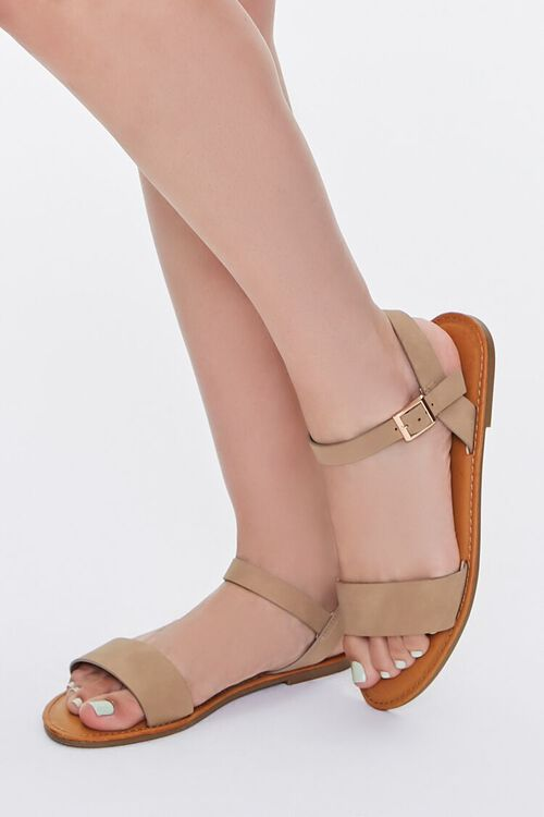 Faux Suede Open-Back Sandals, image 1