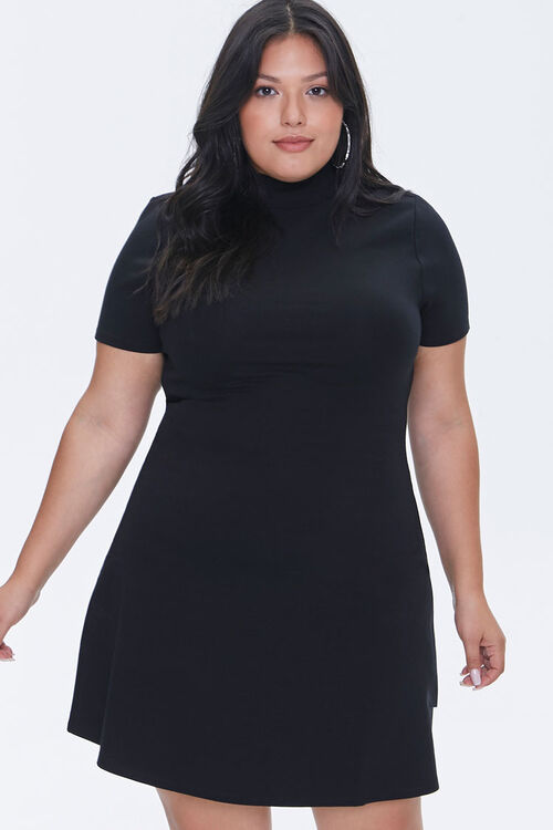 Plus Size Mock Neck Skater Dress, image 1