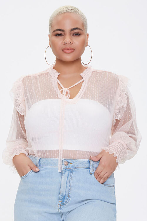 Plus Size Sheer Mesh Bodysuit, image 1