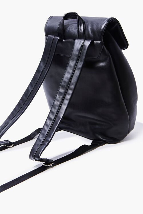 BLACK Faux Leather Backpack, image 2