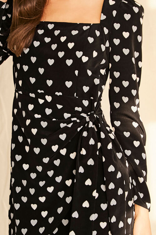 BLACK/WHITE Heart Print Mock Wrap Dress, image 5