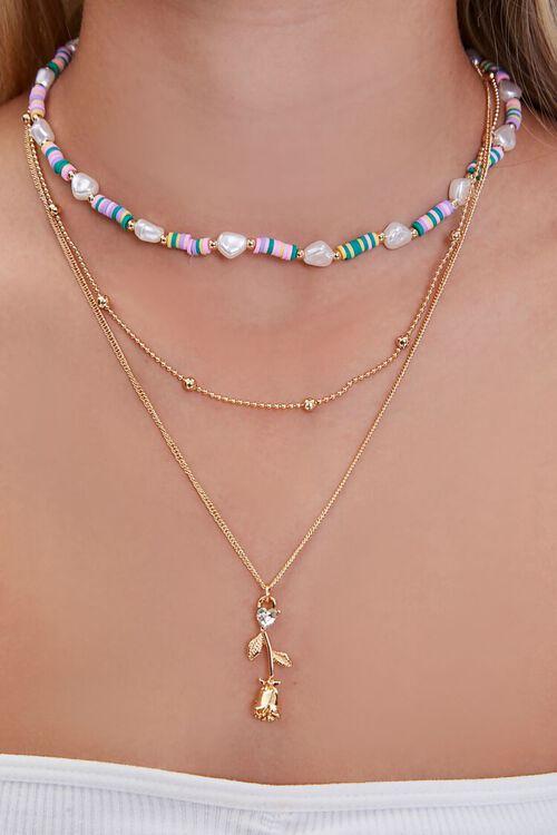 Rose Pendant Beaded Necklace Set, image 1