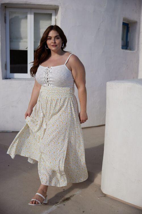 MINT/MULTI Plus Size Floral M-Slit Skirt, image 1