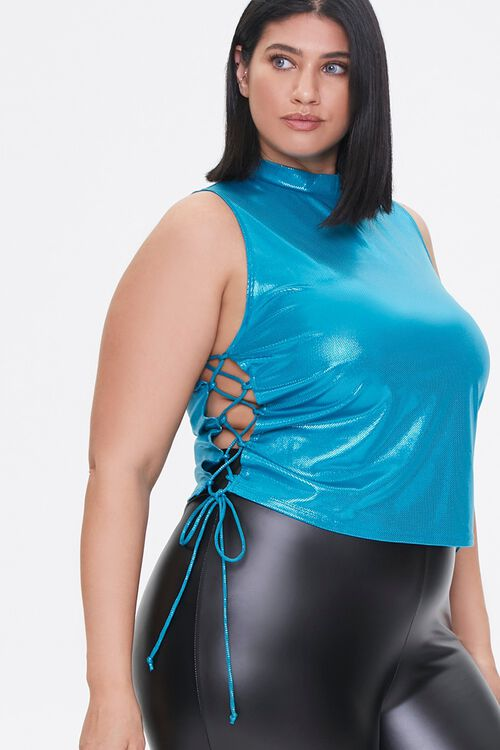 Plus Size Metallic Lace-Up Crop Top, image 1