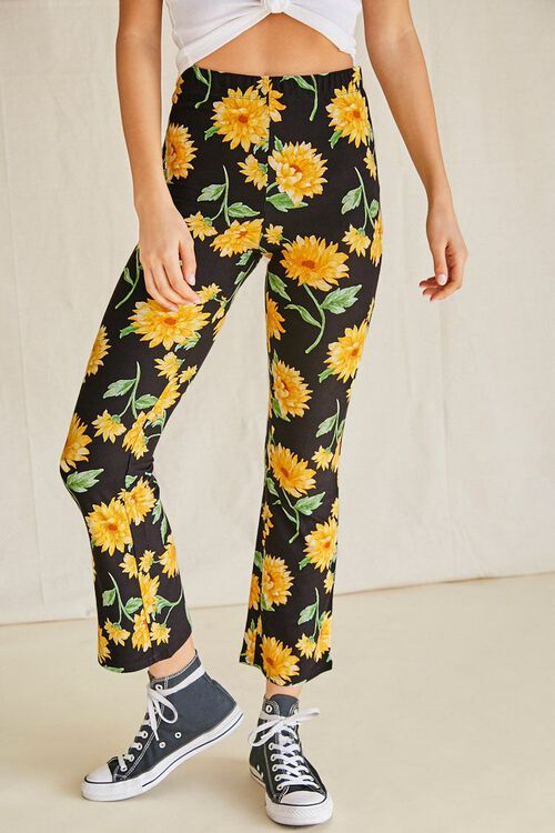 Sunflower Print Flare Pants, image 2