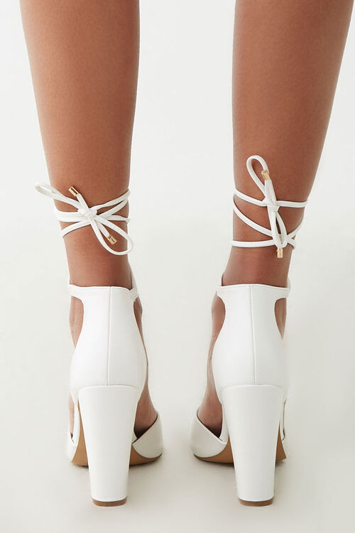 Faux Suede Lace-Up Heels, image 3
