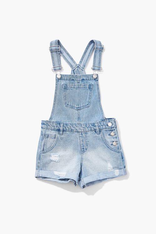 Girls Denim Overall Shorts (Kids), image 3