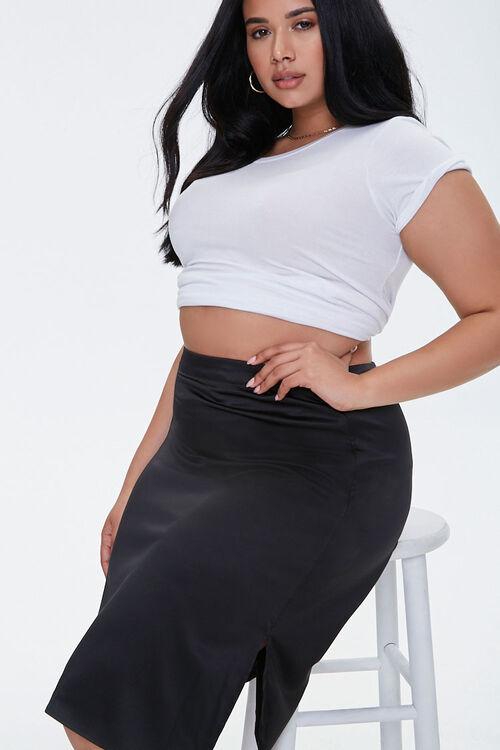 Plus Size Satin Midi Skirt, image 1