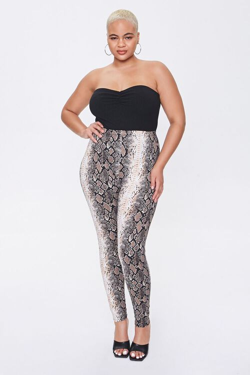 Plus Size Snake Print Leggings, image 5