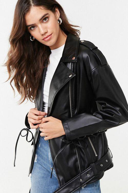 Faux Leather Moto Jacket, image 1