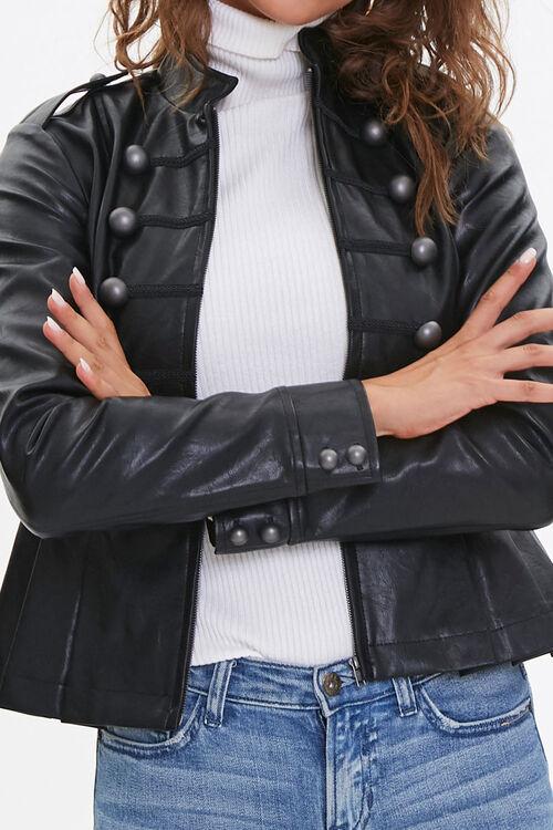 BLACK Faux Leather Bauble Jacket, image 5