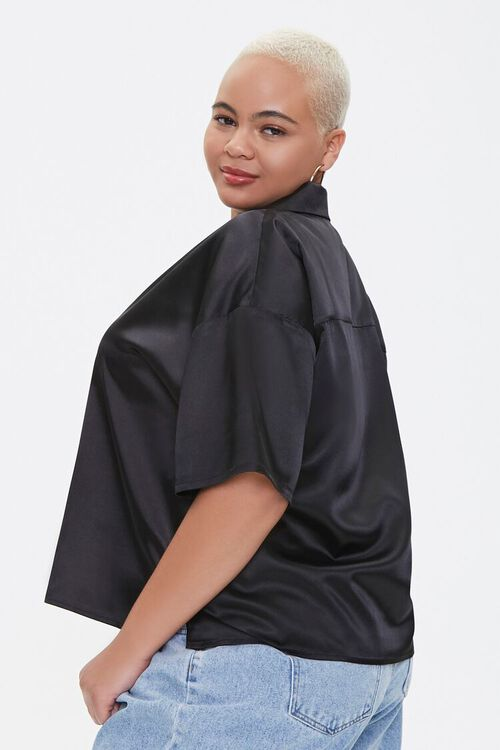 Plus Size Cropped Satin Shirt, image 2