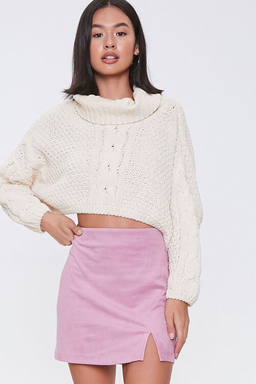 Faux Suede Mini Skirt, image 1