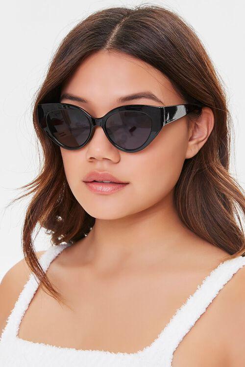 BLACK/BLACK Tinted Cat-Eye Sunglasses, image 1