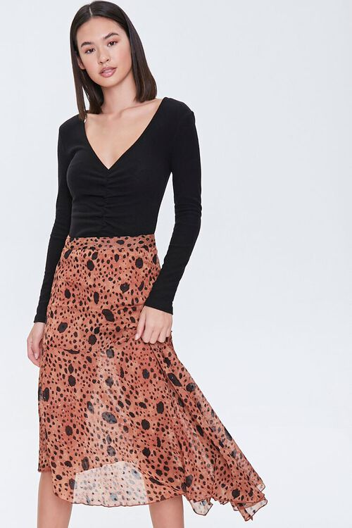 Spotted Flounce Maxi Skirt, image 1