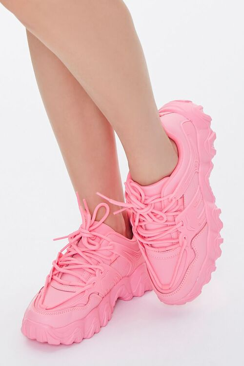 PINK Faux Leather Low-Top Sneakers, image 1