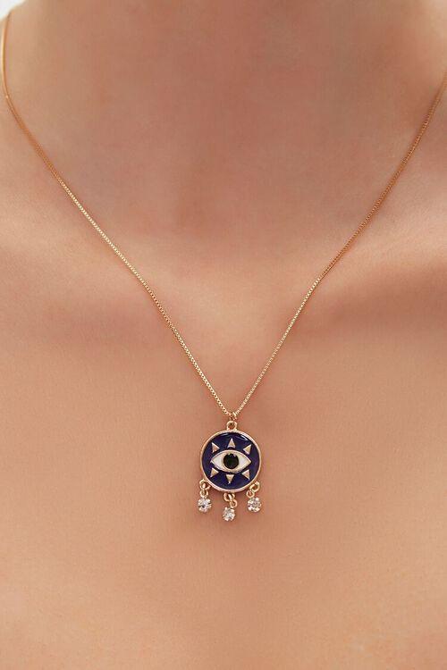 GOLD/BLUE Eye Pendant Necklace, image 1