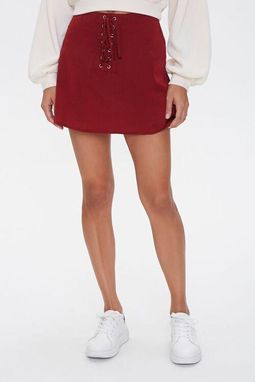 Lace-Up Satin Mini Skirt, image 2