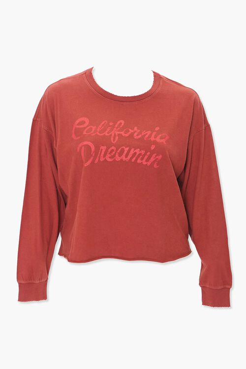 BURGUNDY/RED Plus Size California Dreamin Graphic Tee, image 1