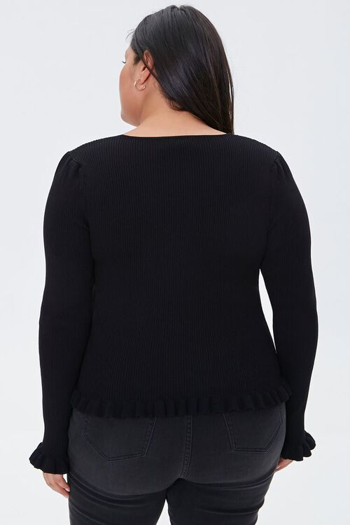 Plus Size Faux Pearl Sweater-Knit Top, image 3