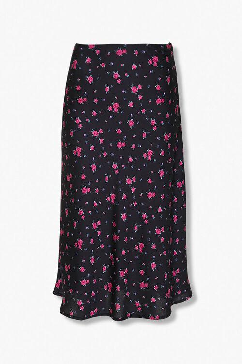 BLACK/MULTI Rose Floral Print Skirt, image 1