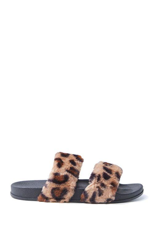 Leopard Faux Fur Slippers, image 1