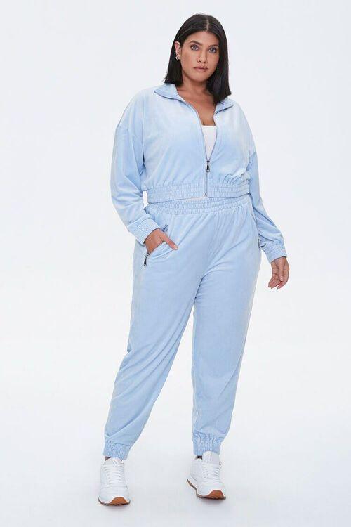 LIGHT BLUE Plus Size Velour Zip-Up Jacket, image 4