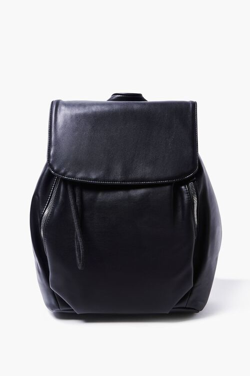 BLACK Faux Leather Backpack, image 1