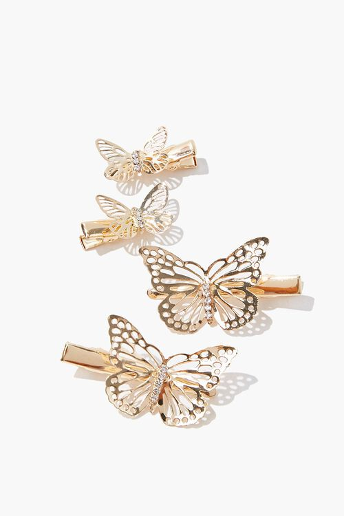 GOLD Filigree Butterfly Snap Clips, image 1