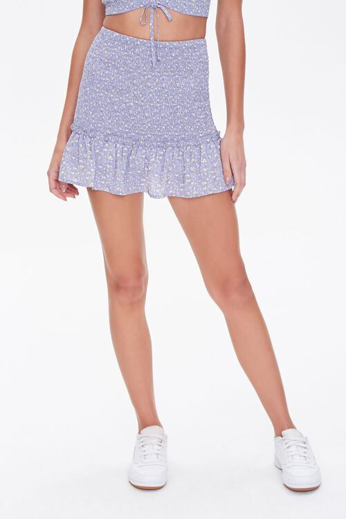 Floral Smocked Mini Skirt, image 2