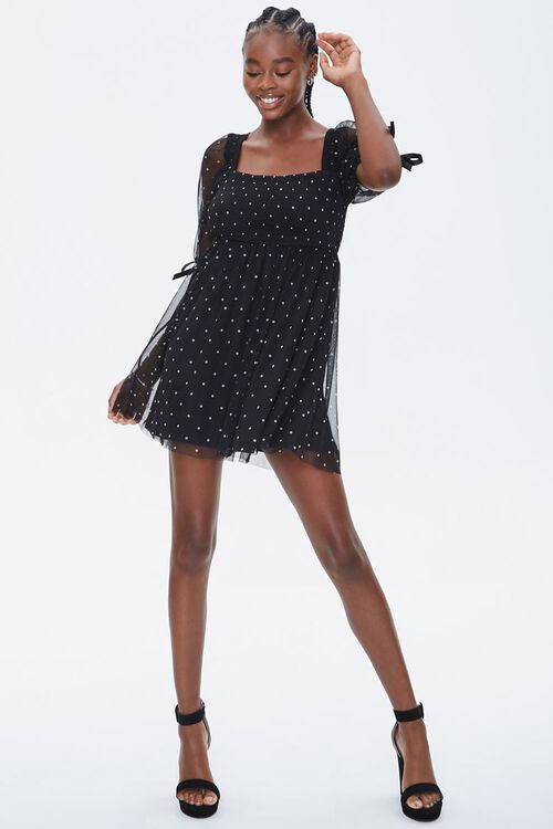 Polka Dot Mesh Mini Dress, image 4